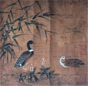 Qing Dynasty Watercolor and ink on Silk by Xu Xi