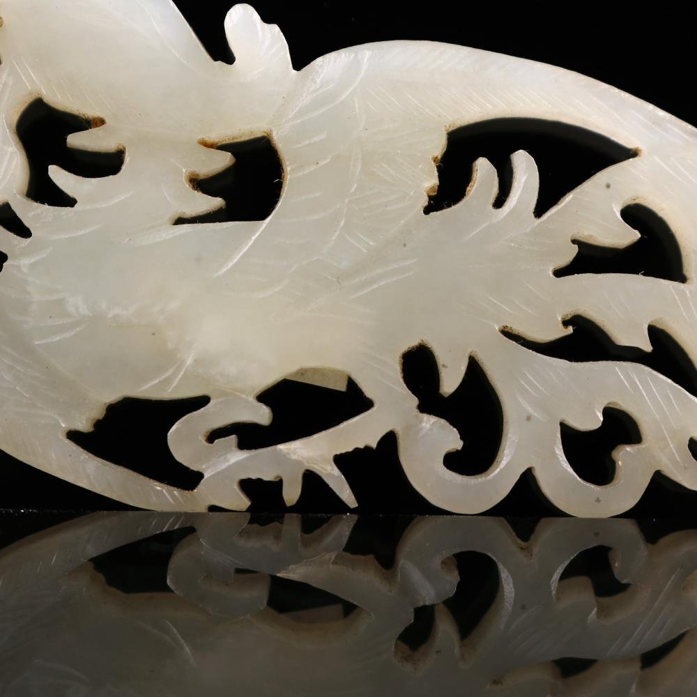 A Chinese Carved White Jade Phoenix,Qing dynasty - 4
