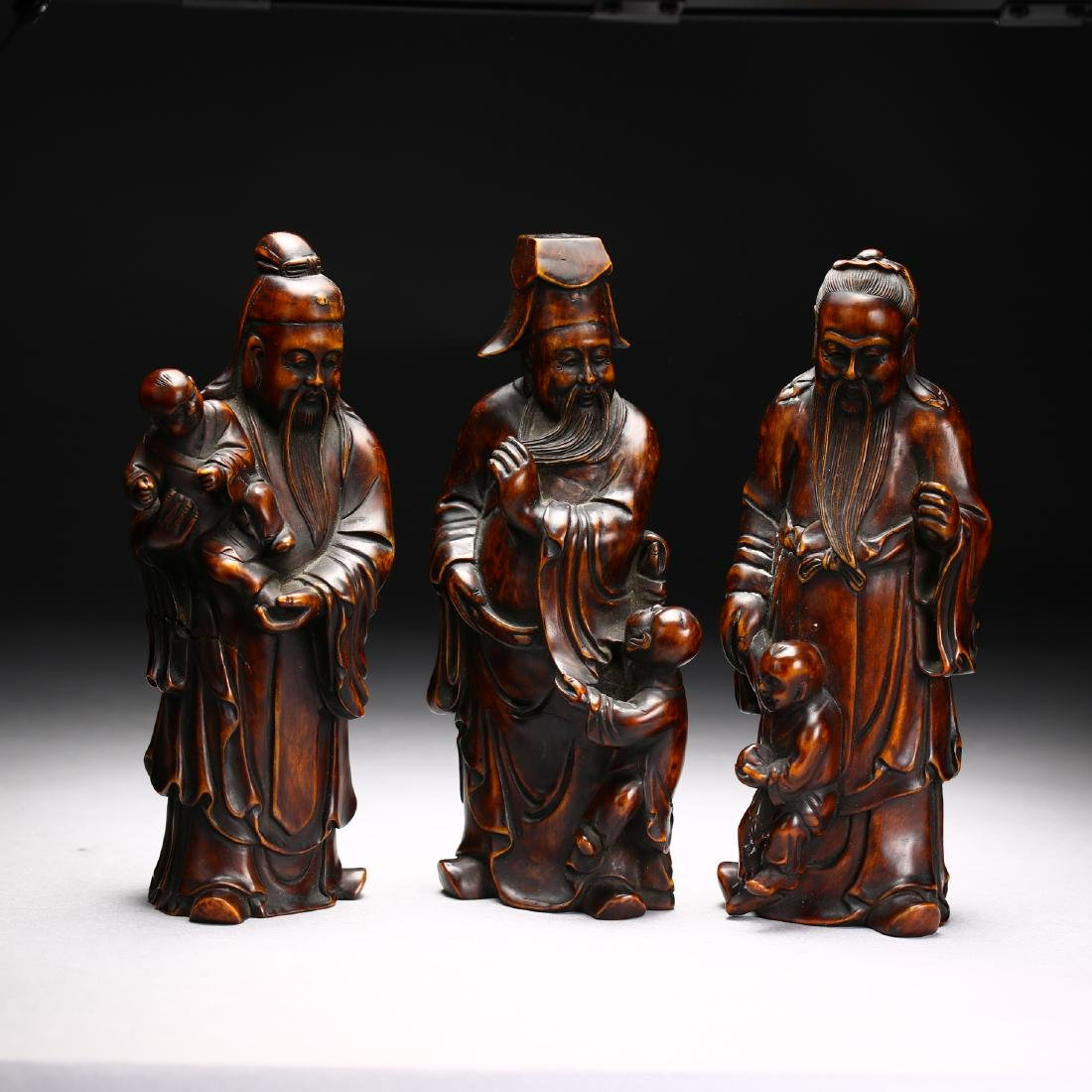 Three Huangyang Wood Carved Figures,Qing dynasty