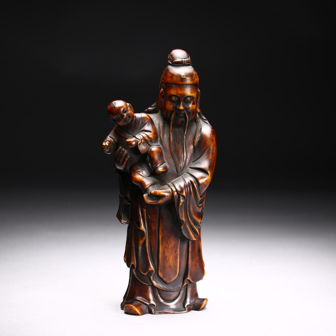 Three Huangyang Wood Carved Figures,Qing dynasty - 7