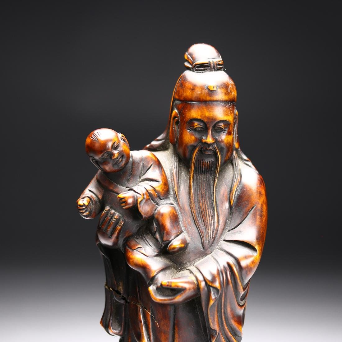 Three Huangyang Wood Carved Figures,Qing dynasty - 8