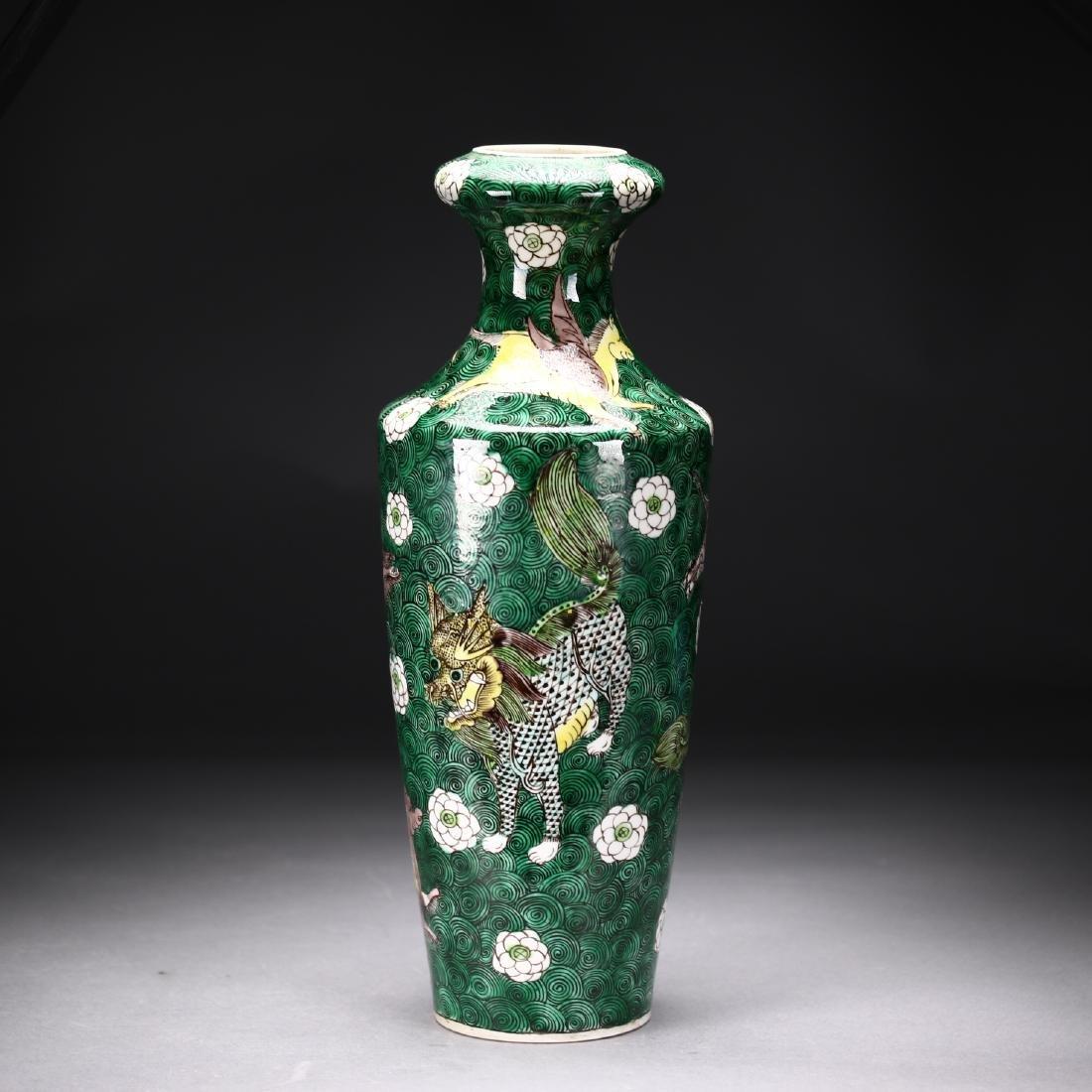 A Chinese  Famille Verte Vase - 4