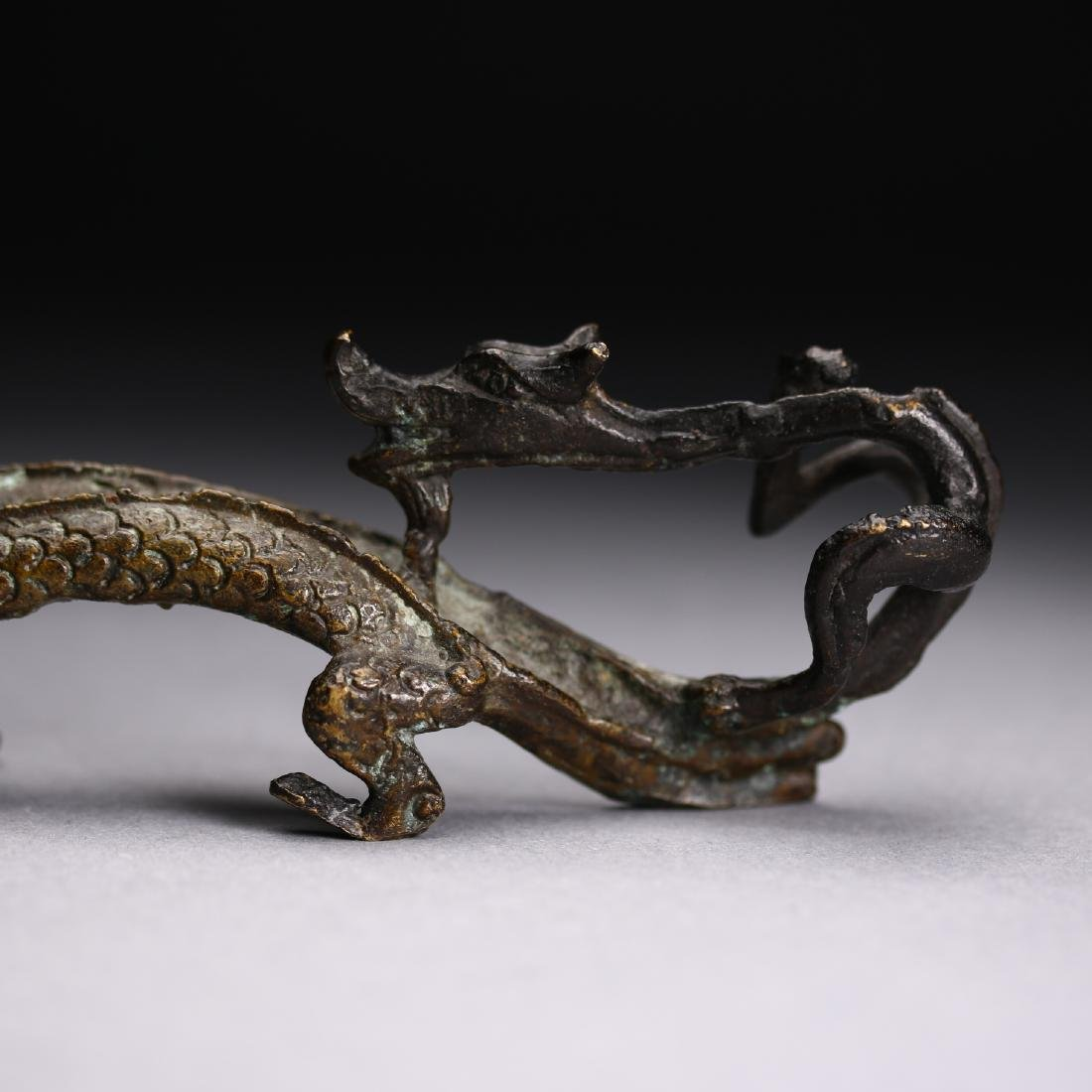 "A Chinese gilt bronze ""Two Dragon "" Head, Warring State - 3"