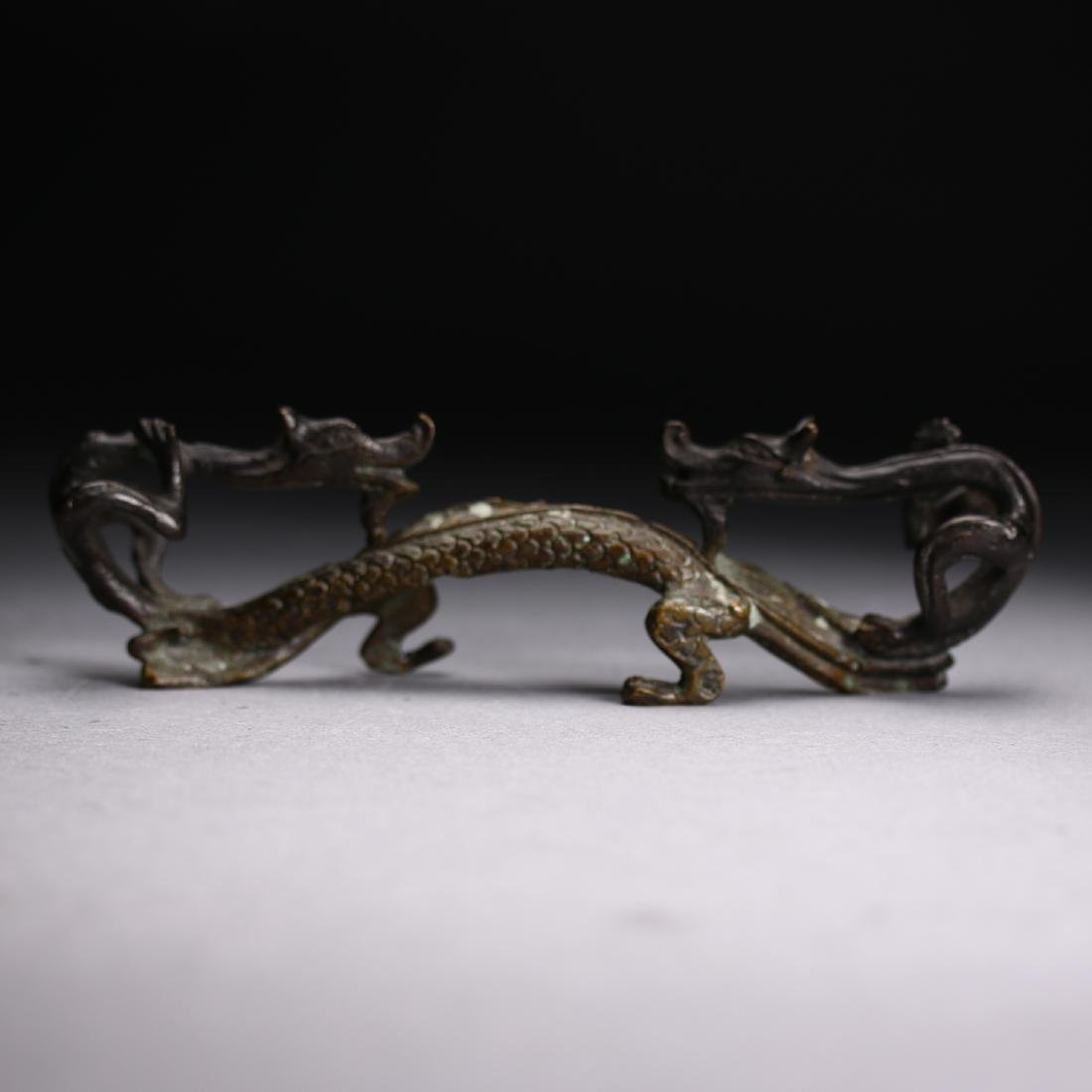 "A Chinese gilt bronze ""Two Dragon "" Head, Warring State - 5"