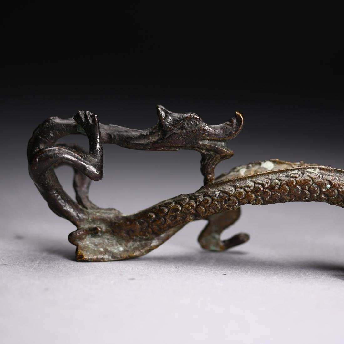 "A Chinese gilt bronze ""Two Dragon "" Head, Warring State - 7"