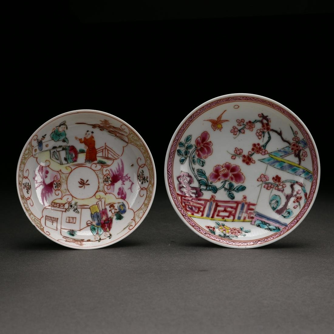 Two Chinese Famille-Rose Porcelain Saucers, Qing D