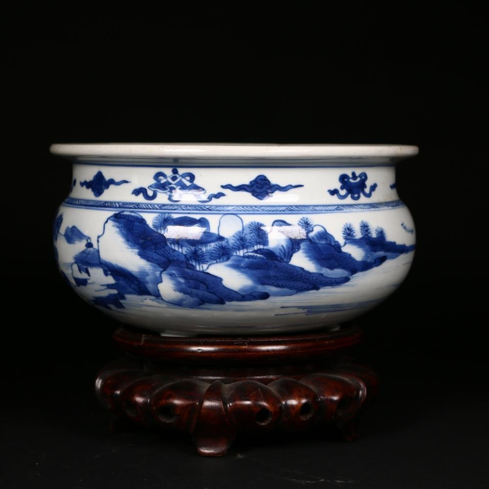 A  Blue and White Porcelain Incense burner,Kangxi perio