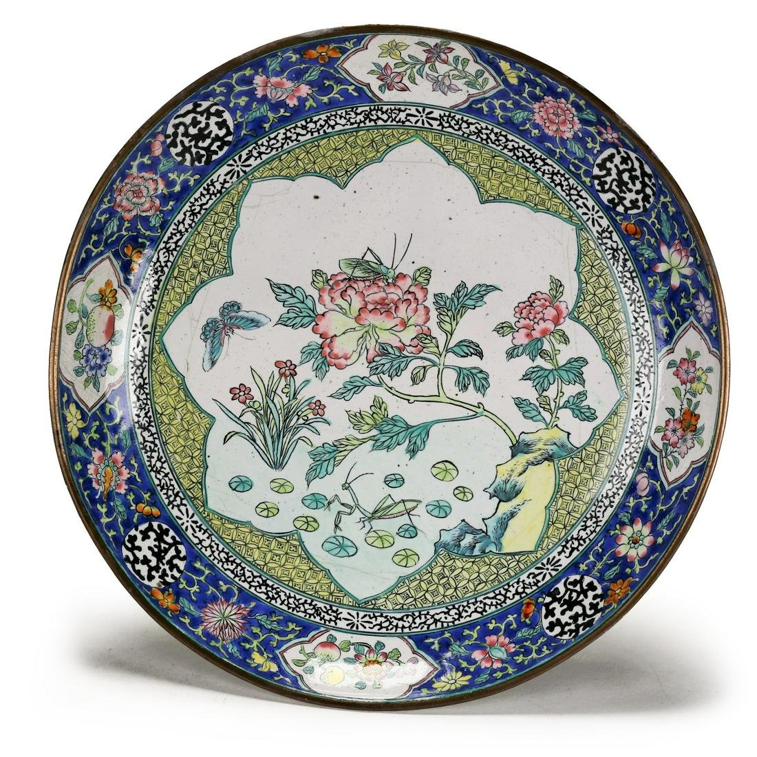 A Chinese Enameled copper dish,Qing Dynasty