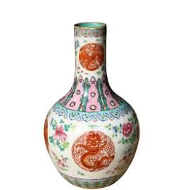 A Wucai Porcelain Dragon and Phoenix Vase,Qing Dynasty