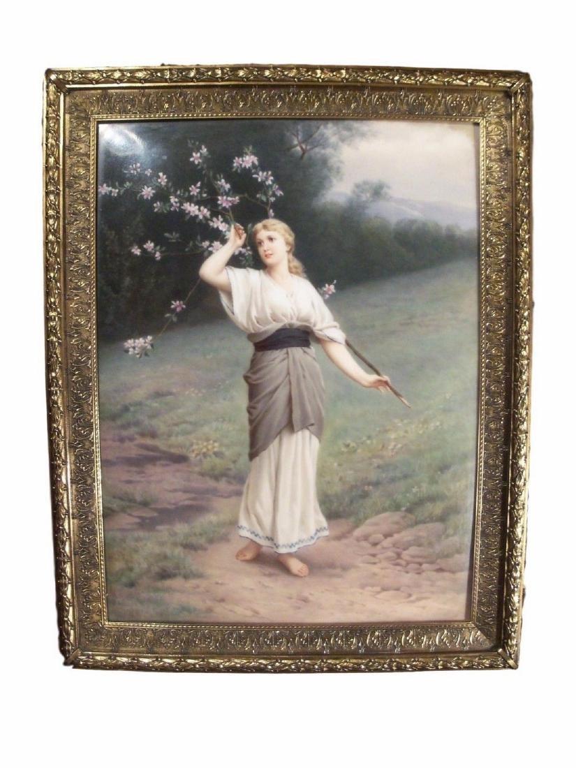 Antique KPM Hand Painted Porcelain Plaque of Spring