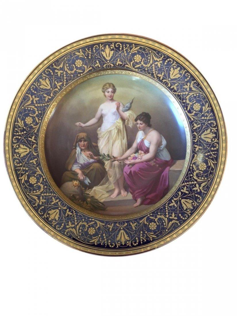 Antique Royal Vienna Porcelain Plate Depicting The
