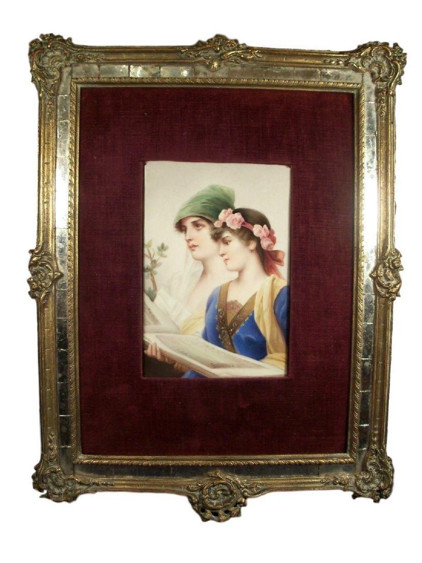 Antique KPM porcelain plaque of The Duet by Conrad