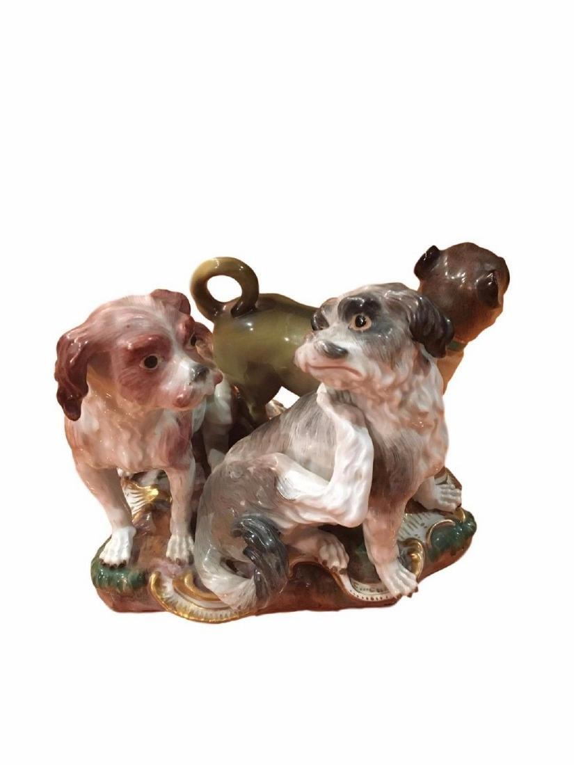 Antique Meissen Group of Spaniels and Pug