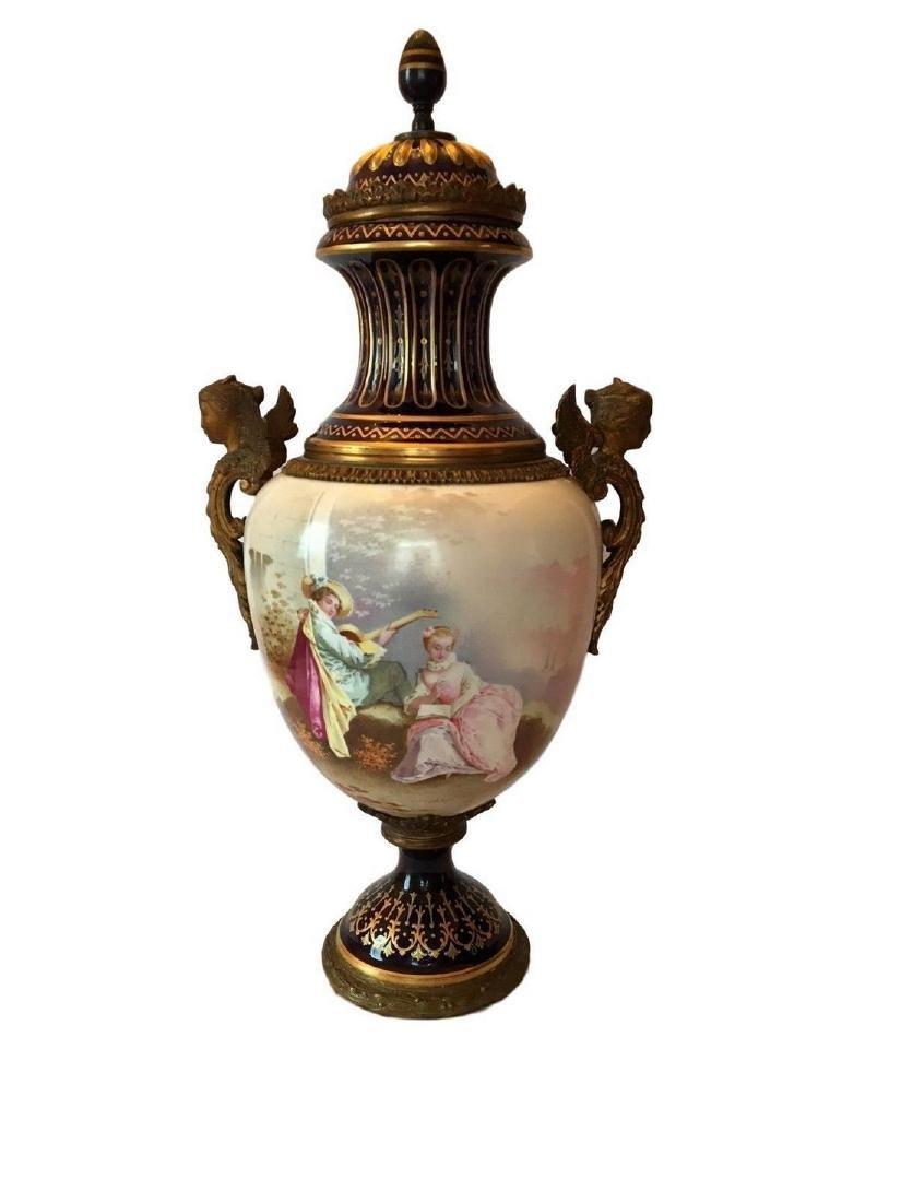 Monumental Antique Sevres Hand Painted Porcelain Gilt