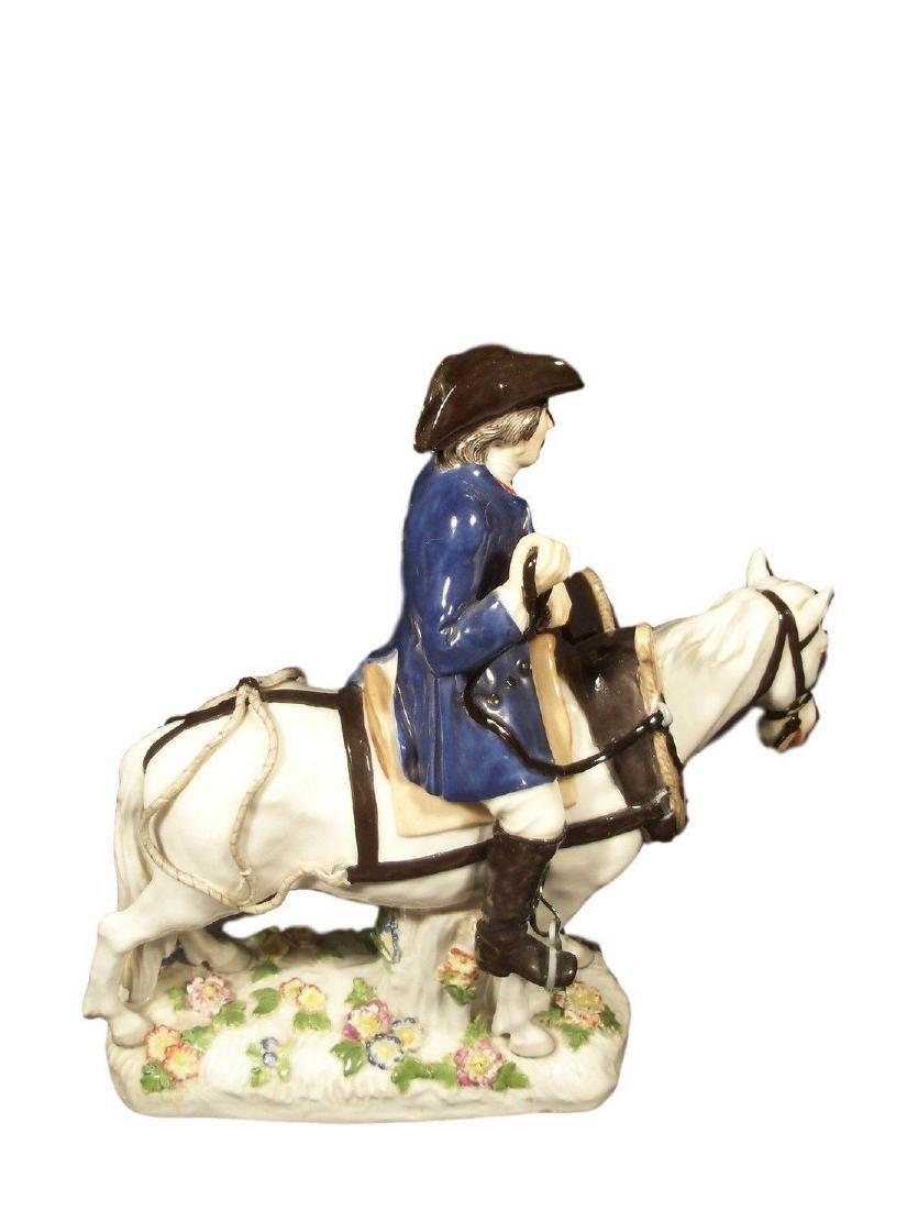Antique Meissen Porcelain Figure of Man on Horseback