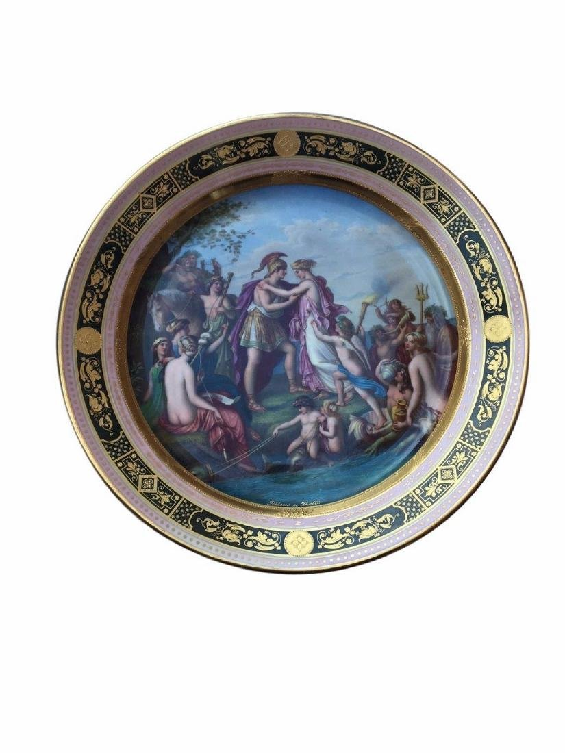 Large Antique Royal Vienna Porcelain Charger
