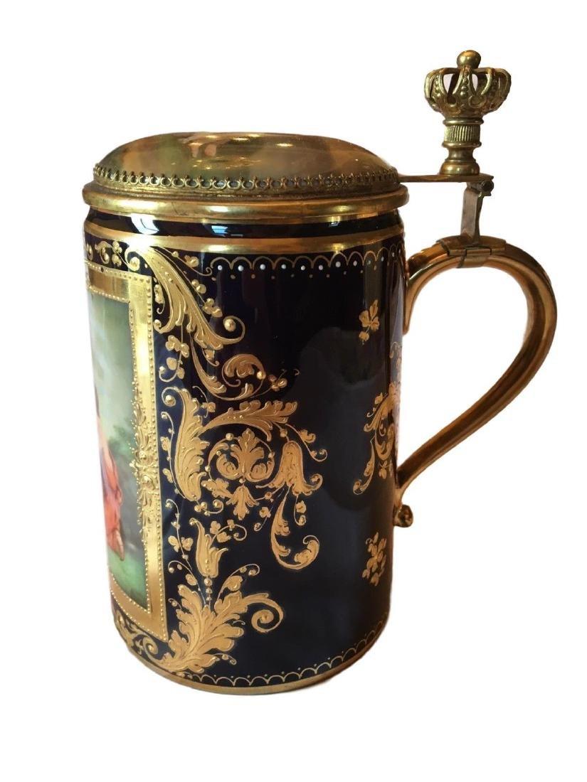 Antique Royal Vienna Porcelain Hand Painted Stein - 2
