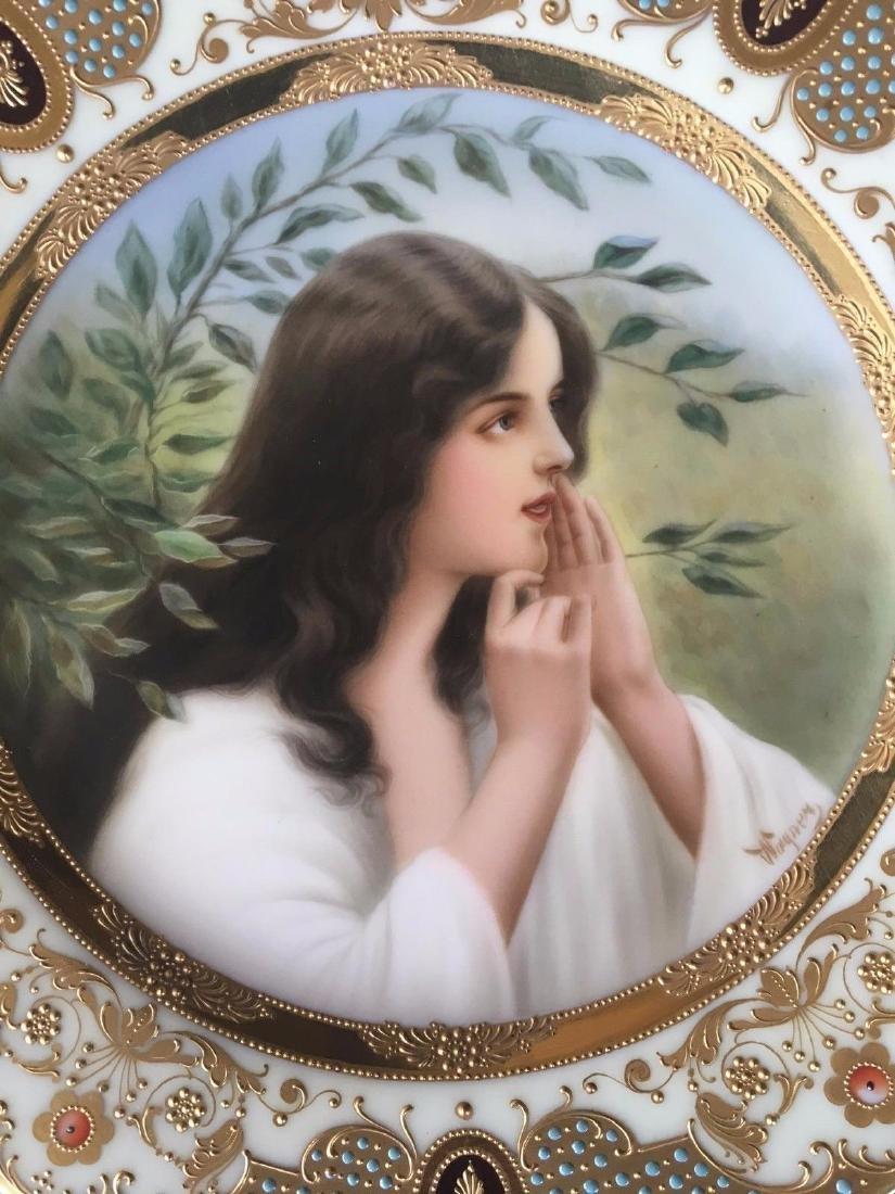 Antique Royal Vienna Porcelain Hand Painted Portrait - 3