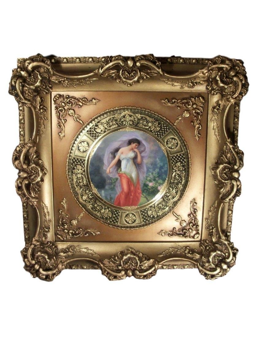 Framed Antique Royal Vienna Porcelain Plate Signed