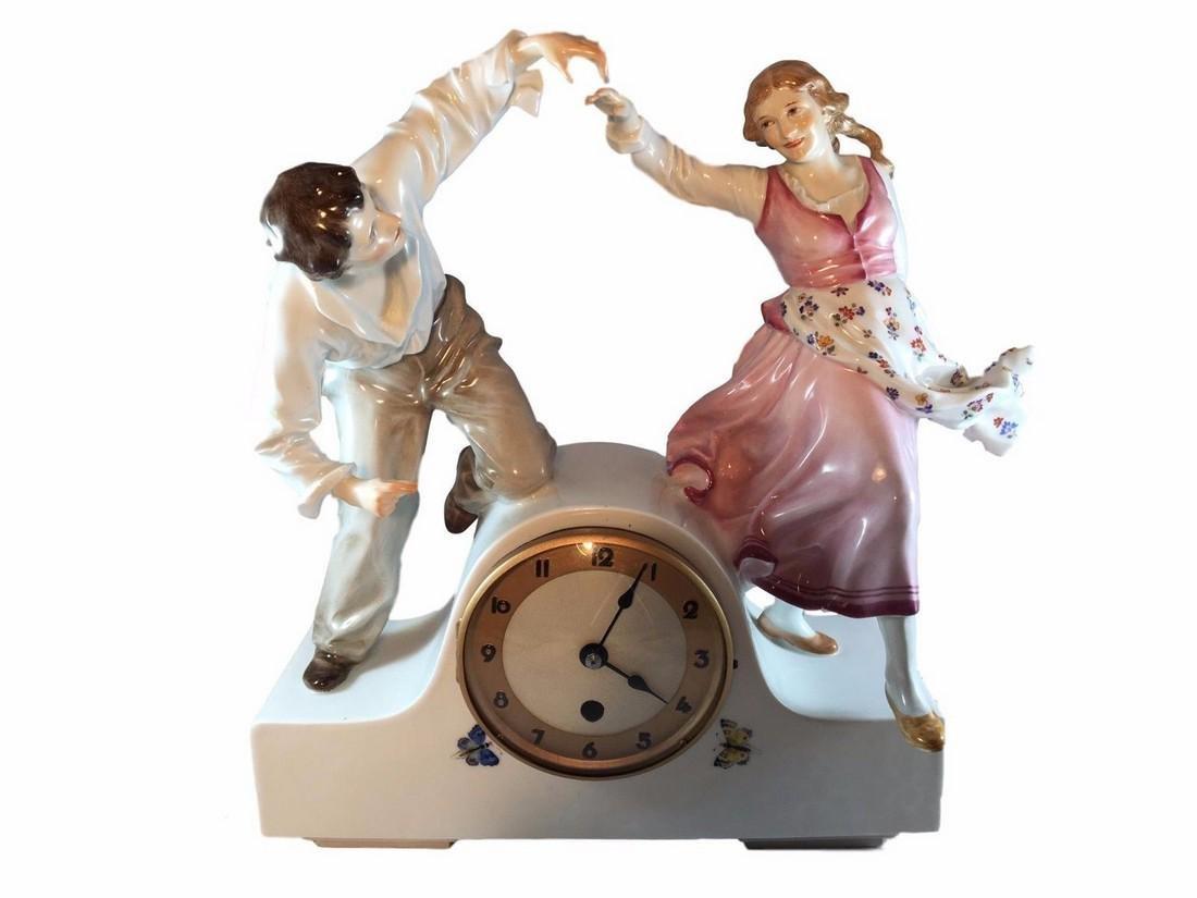 Monumental Antique Meissen Art Nouveau Porcelain Clock