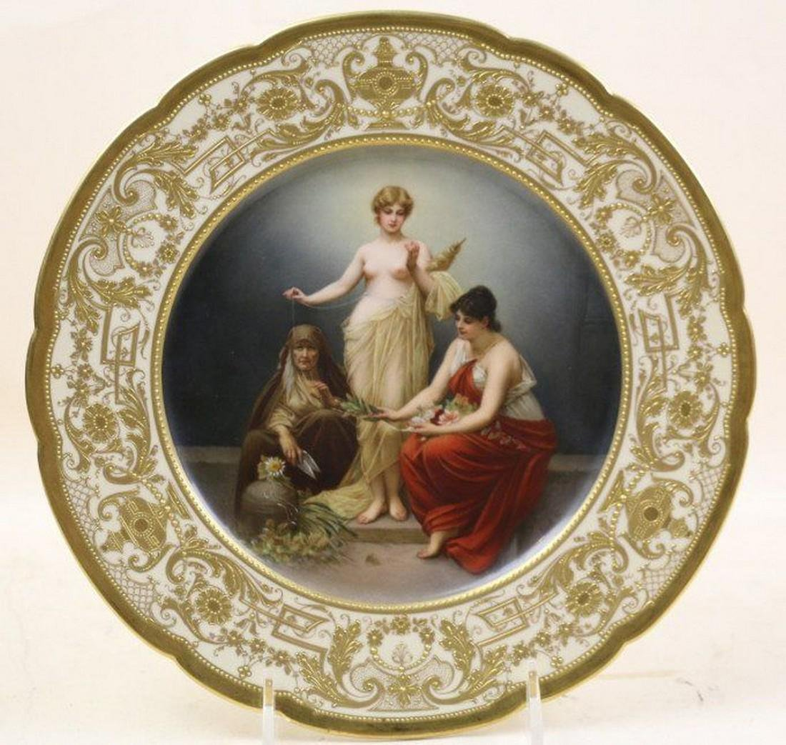 Museum Antique KPM Dresden Porcelain Plate Royal Vienna