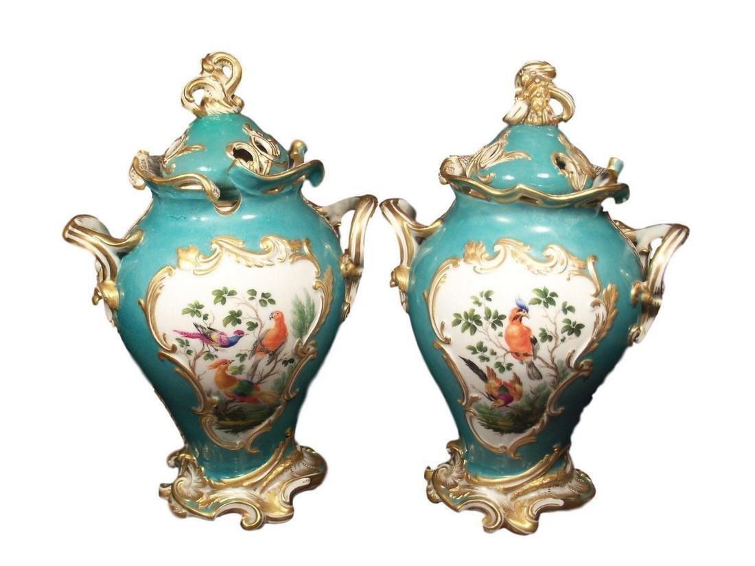 Spectacular Pair of Antique Meissen Porcelain Vases