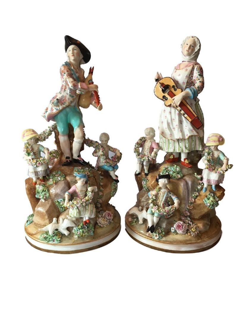 Antique Pair of Meissen Style Porcelain Musician Groups