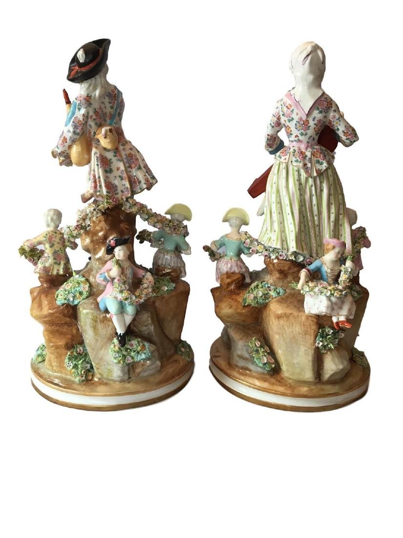 Antique Pair of Meissen Style Porcelain Musician Groups - 2