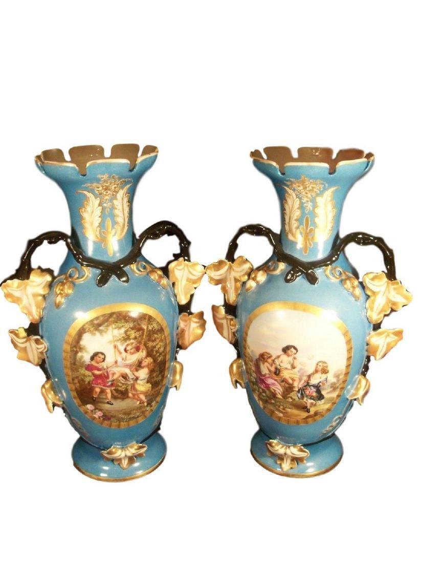 Monumental Antique Pair of Hand Painted Old Paris