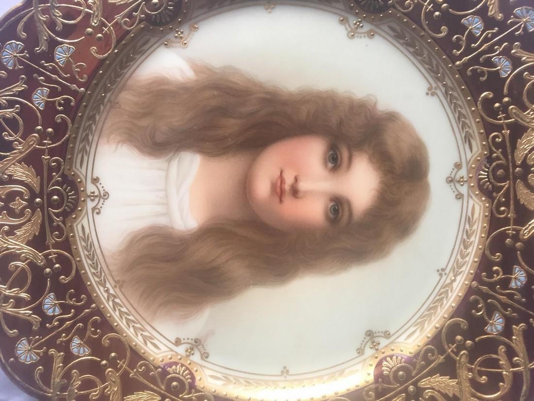 Antique Royal Vienna Porcelain Hand Painted Portrait - 2