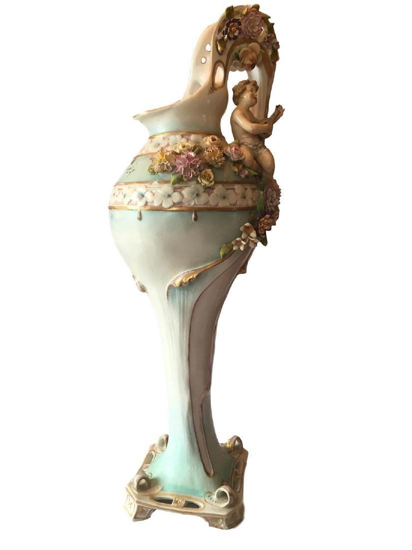 Antique monumental old paris porcelain ewer