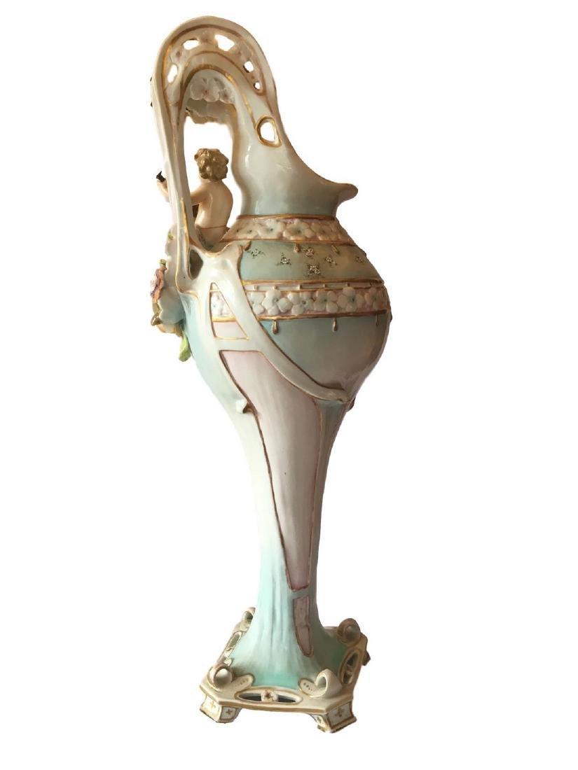 Antique monumental old paris porcelain ewer - 3