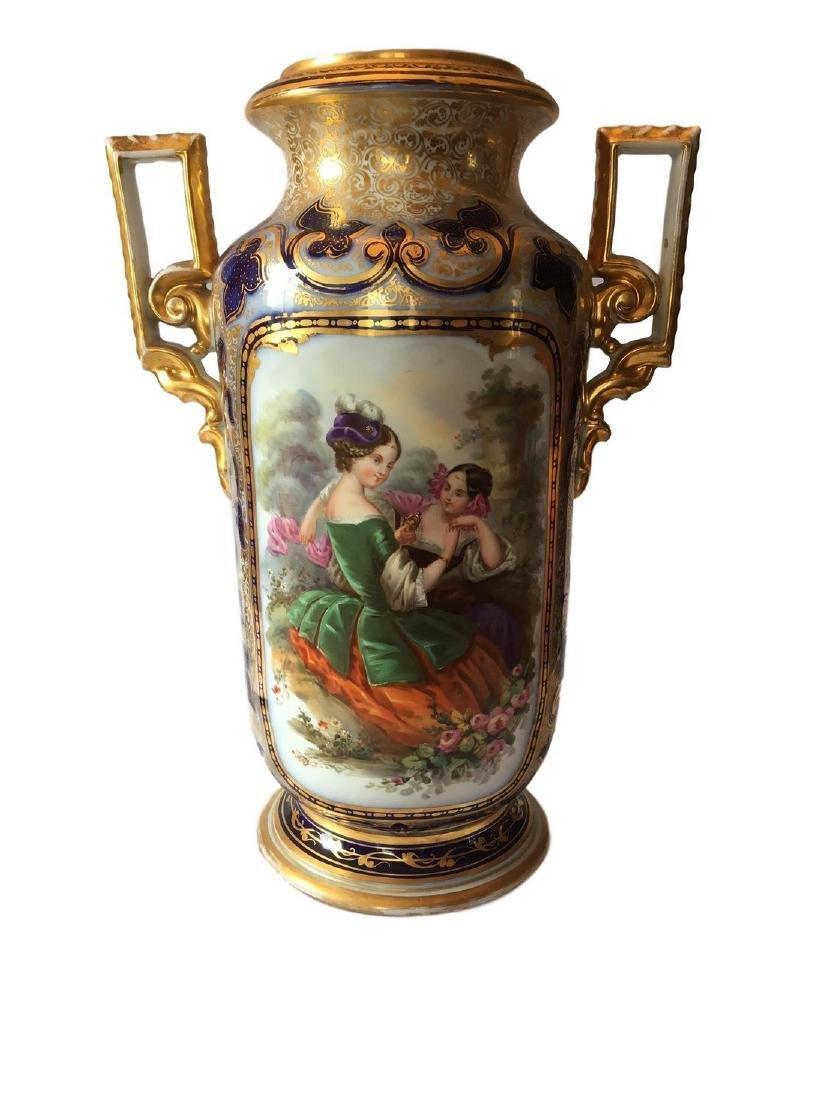 Large Old Paris Porcelain Portrait Vase