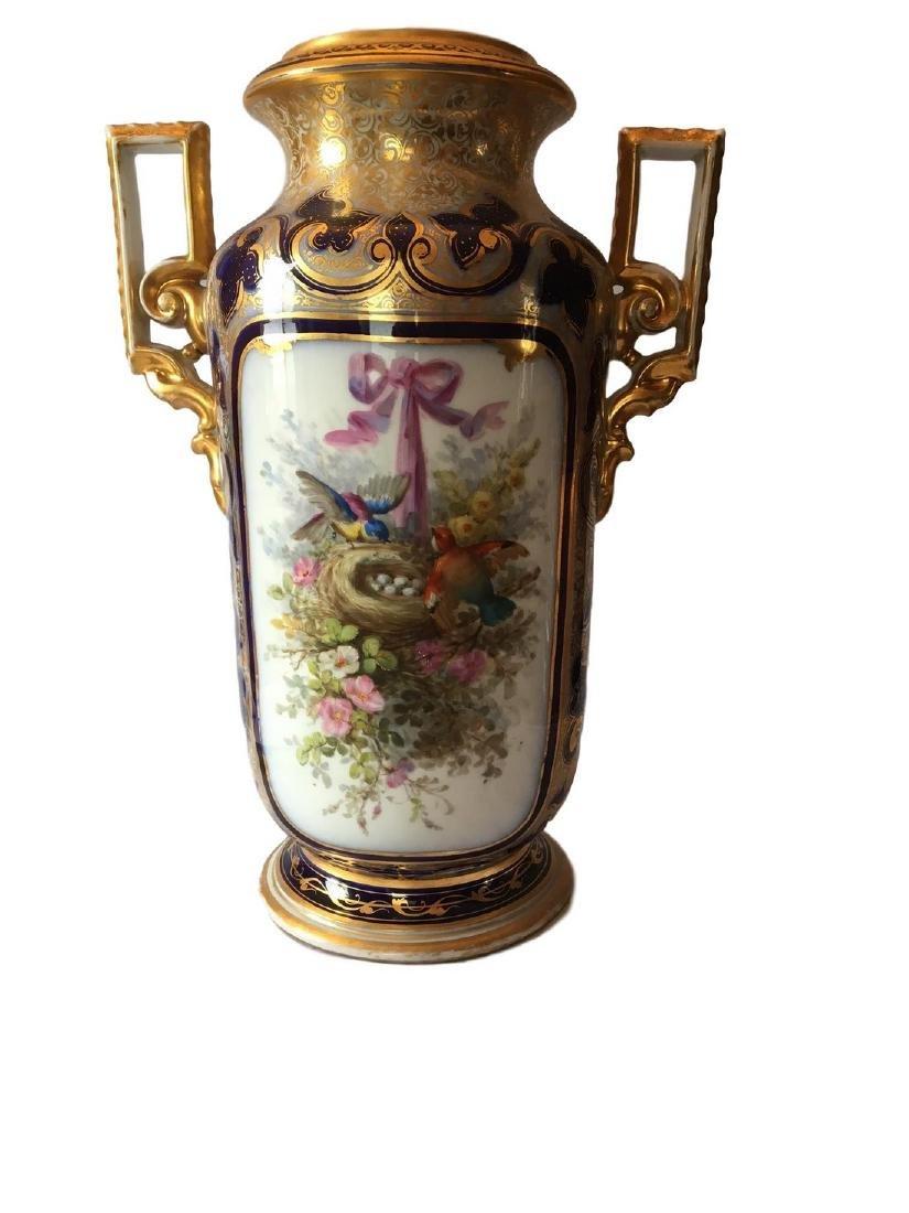 Large Old Paris Porcelain Portrait Vase - 3