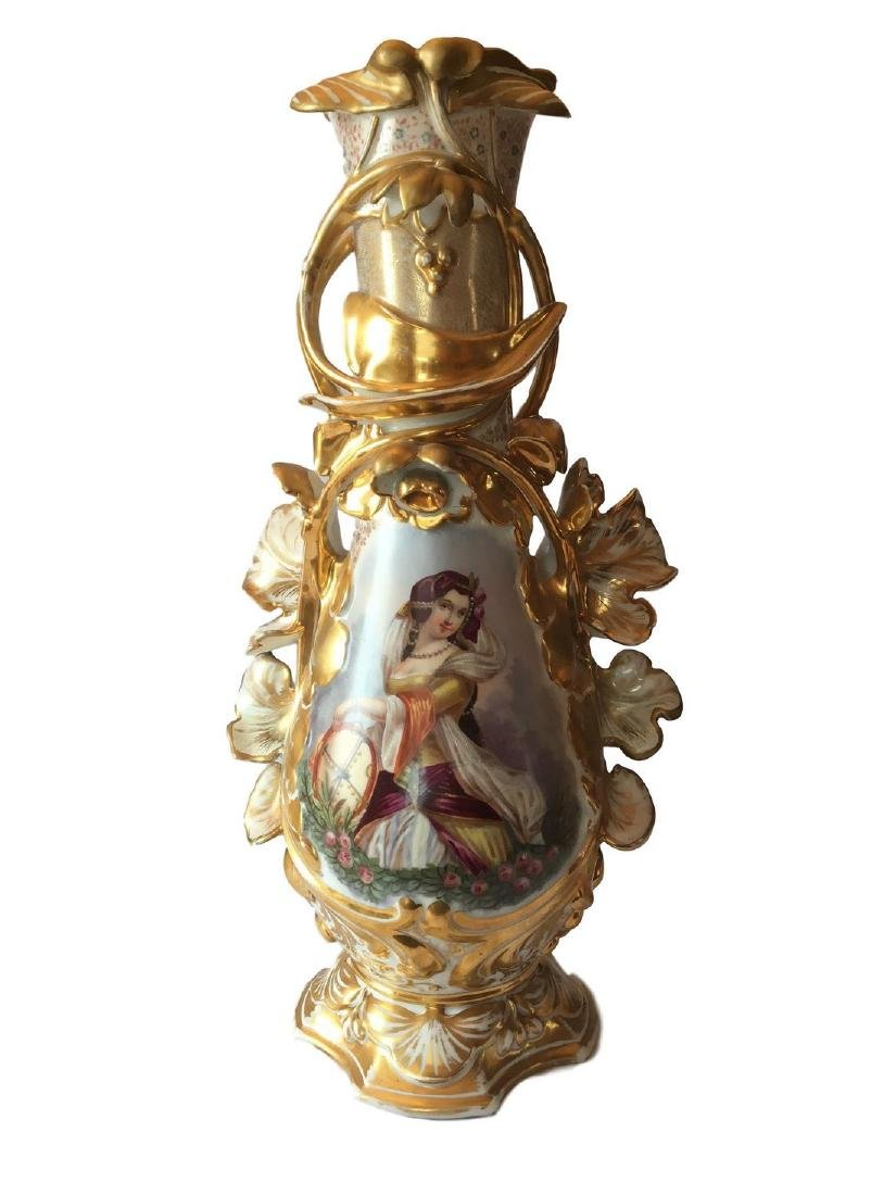 Large Old Paris Porcelain Floor Vase