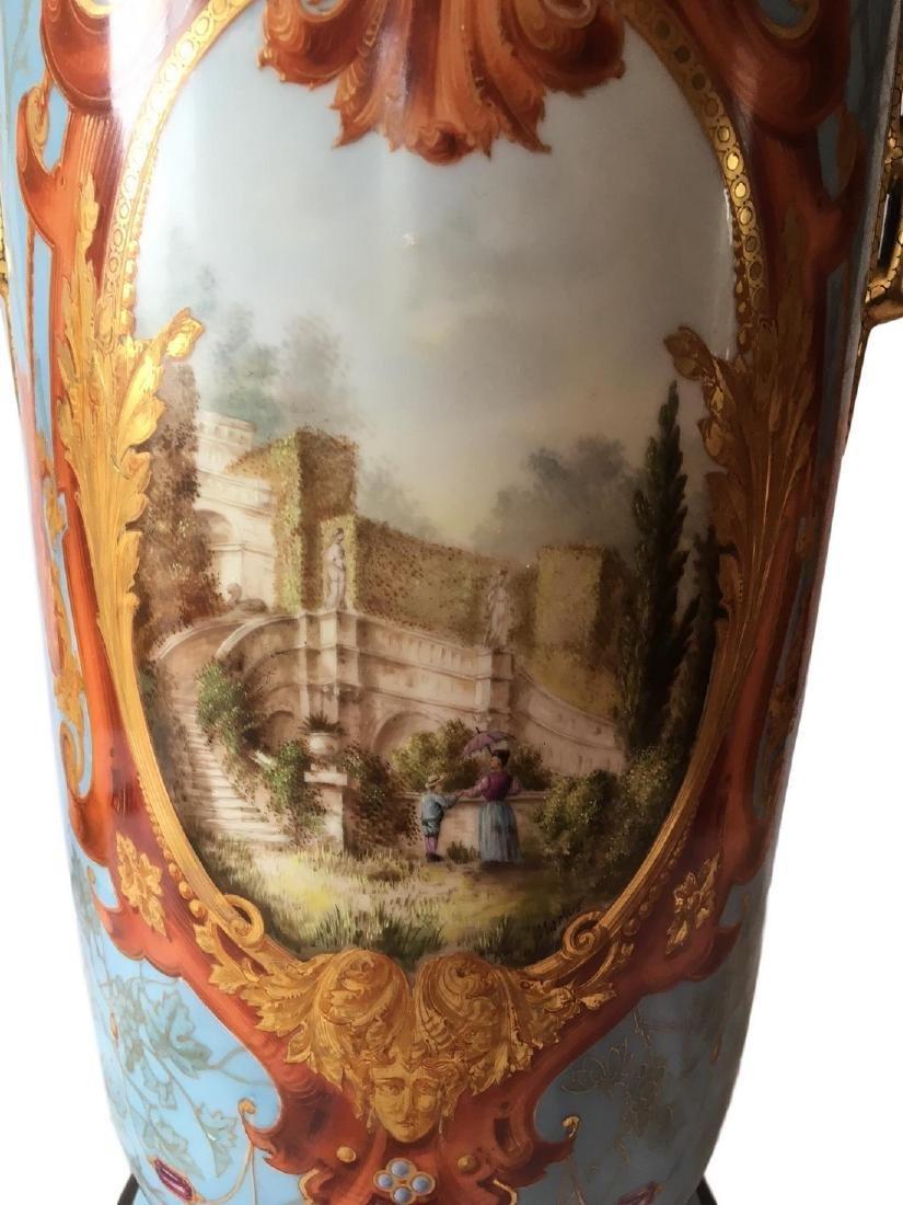 Antique Limoges Old Pair Floor Vase - 2