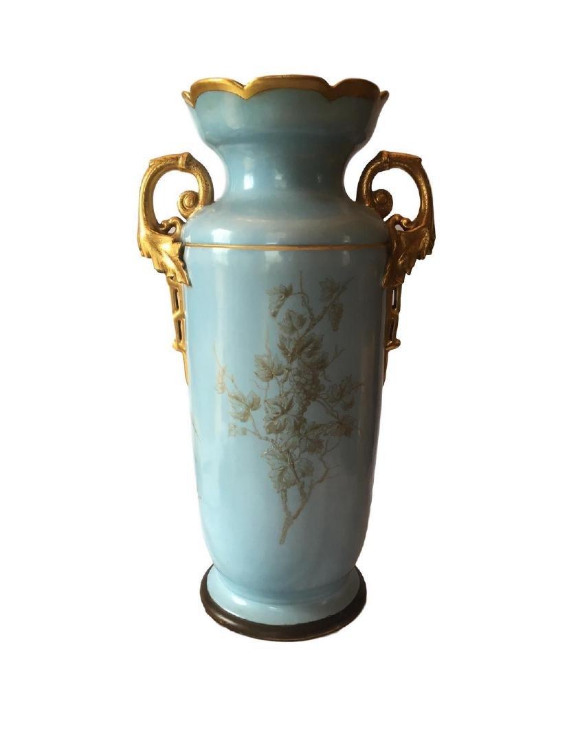 Antique Limoges Old Pair Floor Vase - 3