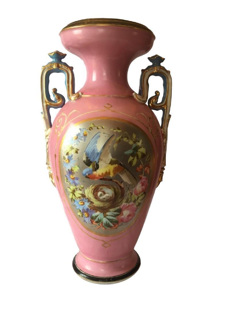 Antique Old Paris Porcelain Hand Painted Vase Platinum
