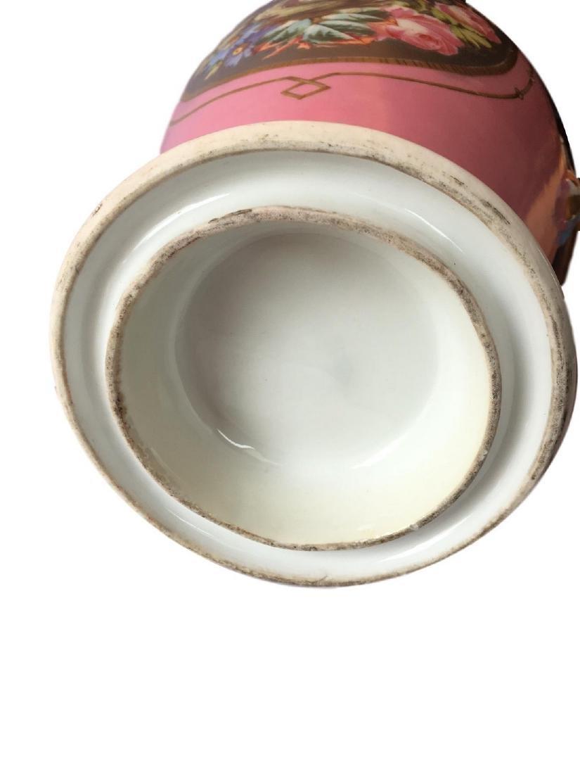 Antique Old Paris Porcelain Hand Painted Vase Platinum - 4