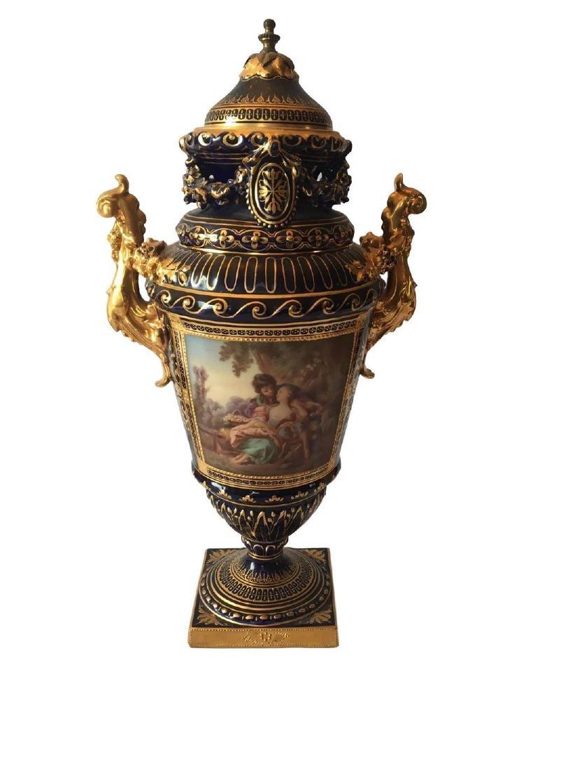 Antique Royal Vienna Cobalt Vase