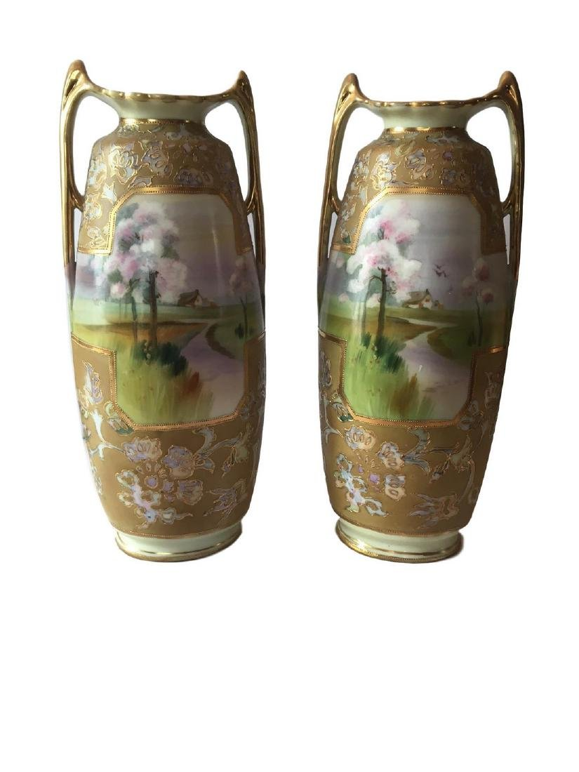 Rare Nippon Green M in wreath Pair of buttress foot