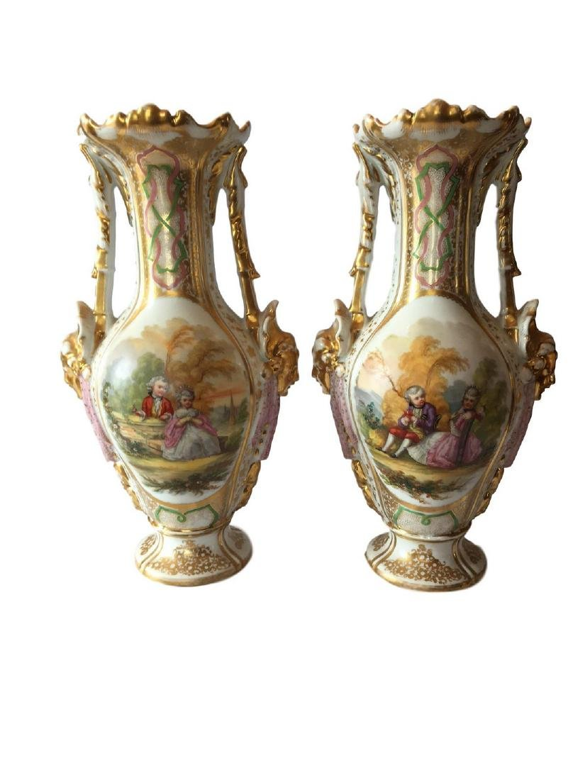 ANTIQUE PAIR OF FRENCH PORCELAIN VASES