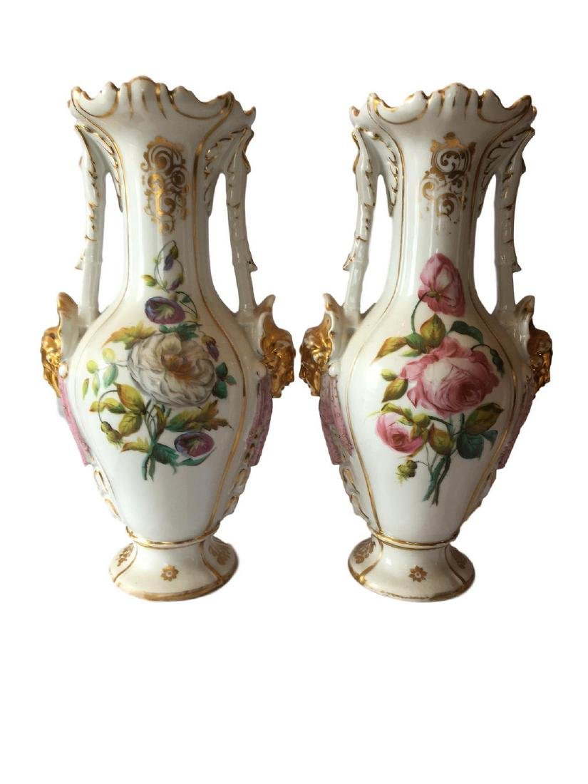 ANTIQUE PAIR OF FRENCH PORCELAIN VASES - 2