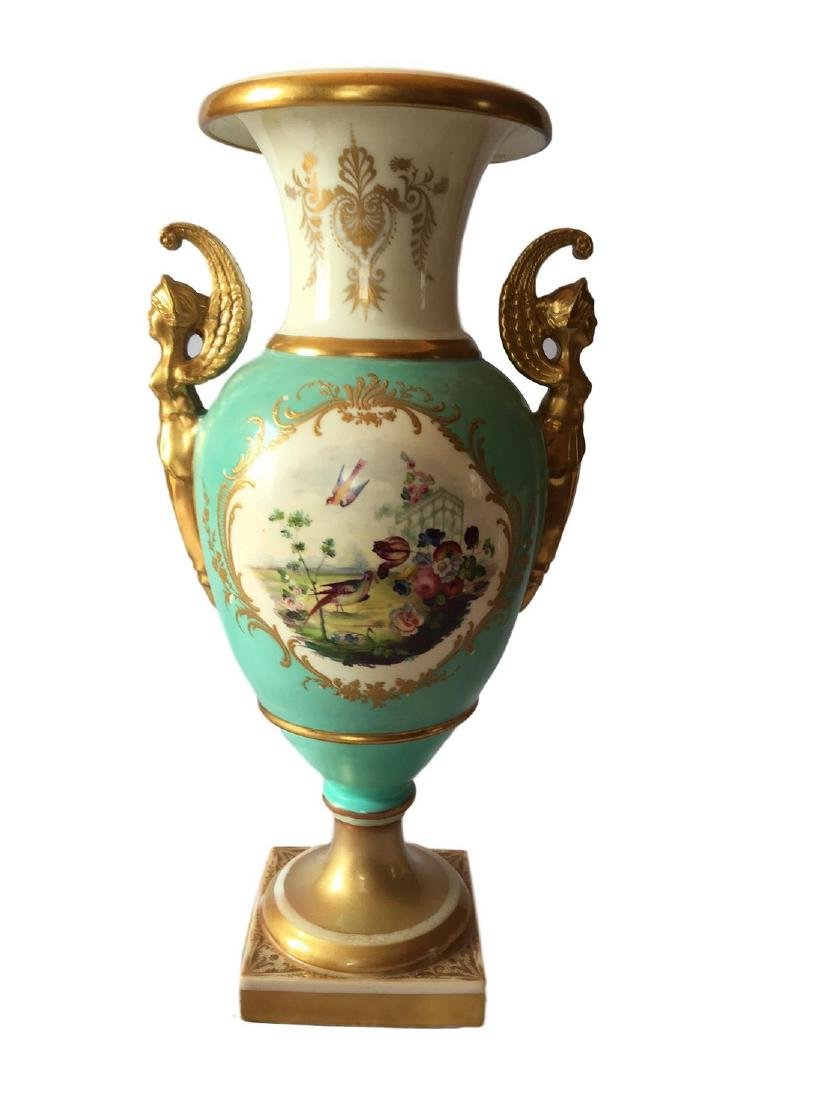 Antique Chelsea turquoise-ground baluster vases