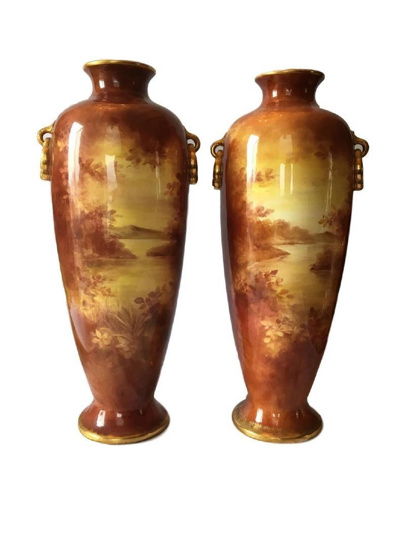 Antique Pair of Royal Bonn Porcelain Dresden Vase - 2