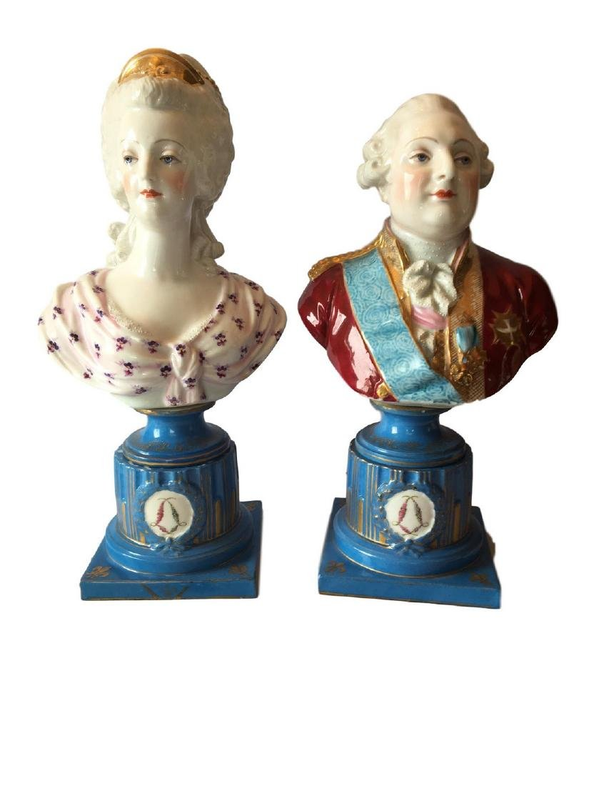 LARGE ANTIQUE PAIR OF SEVRES PORCELAIN  BUSTS