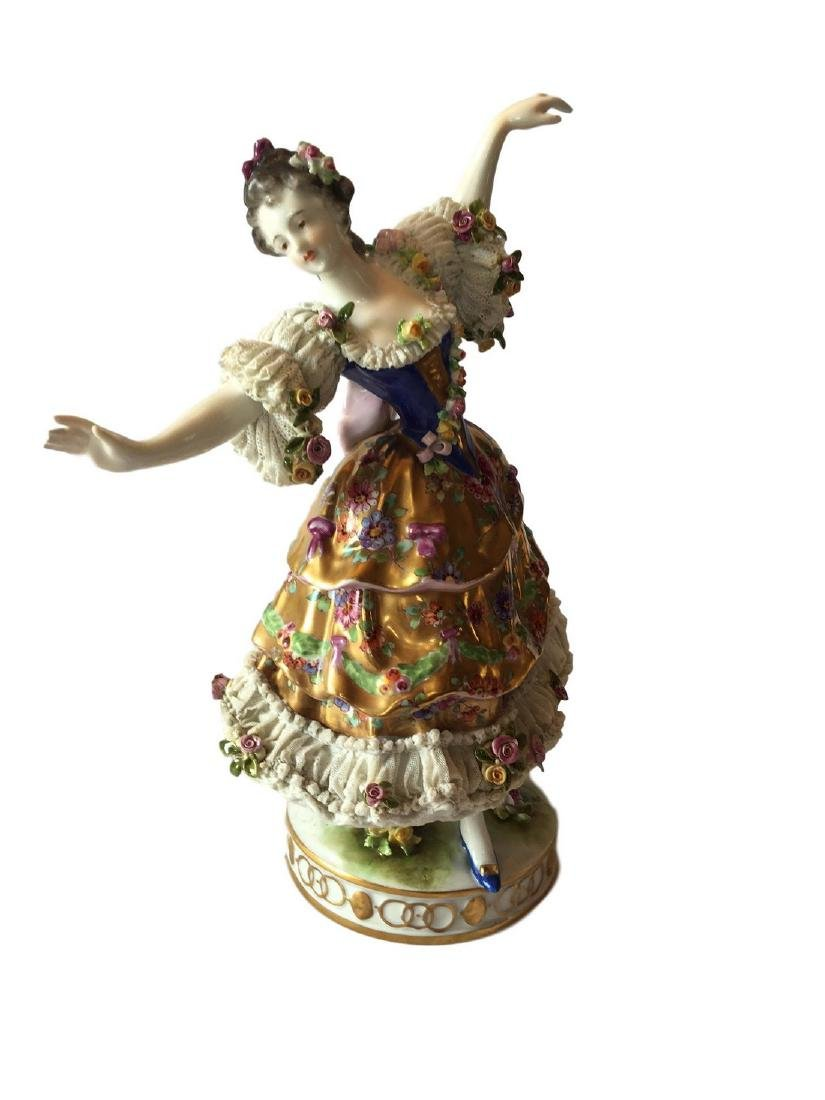 Antique Volkstedt large figure of a Dancer Dresden
