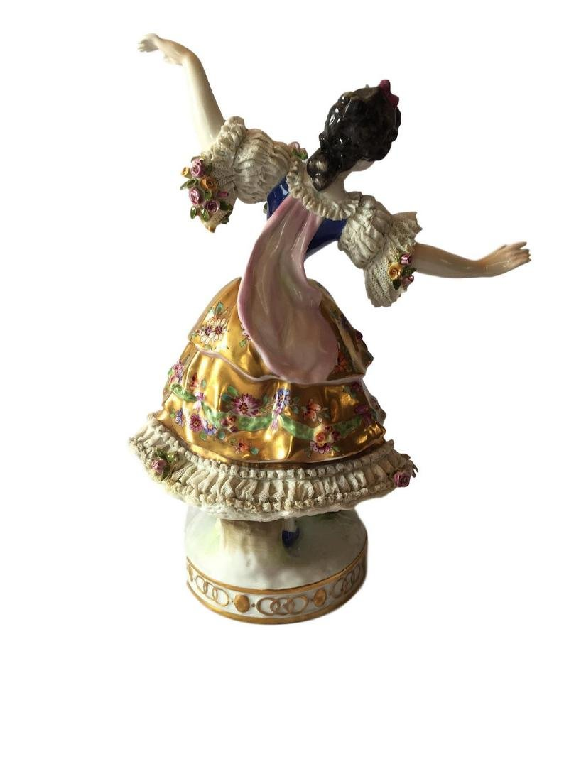 Antique Volkstedt large figure of a Dancer Dresden - 3
