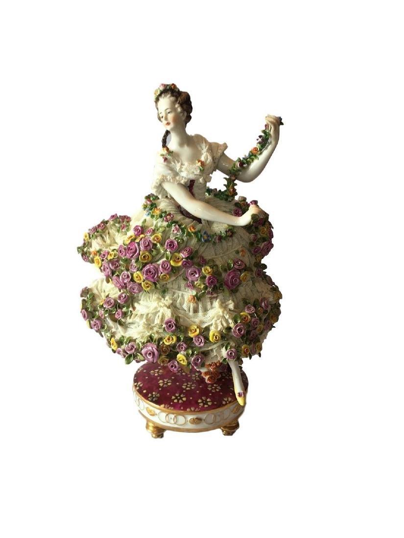 Antique Volkstedt large figure of a Dancer Dresden