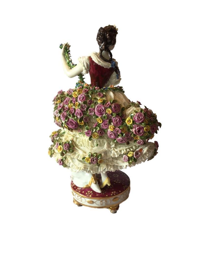 Antique Volkstedt large figure of a Dancer Dresden - 2